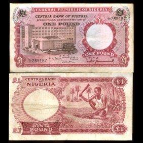1967 Nigeria 1 Pound Note Better Grade