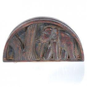 Antique Opium Scale Set In Hand Carved Teak Box