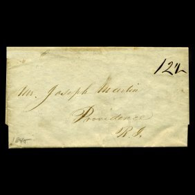 1845 Providence Ri Stampless Cover Scarce