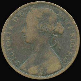 1872 British Victoria Penny Vf/f