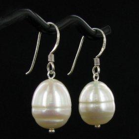 Saltwater Baroque White Pearl Earrings