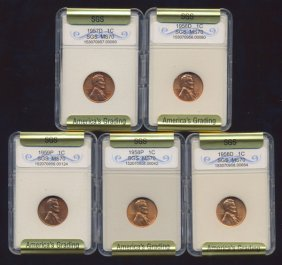 1957-59 Lincoln Cent Set Graded Gems