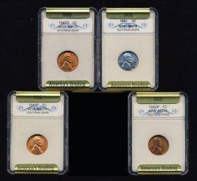 1942-44 Lincoln Cent Set Graded Gems