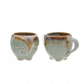 Hand Crafted Celadon Elephant Mug Pair