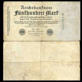 1922 Germany 500 Mark Note Better Grade Scarce