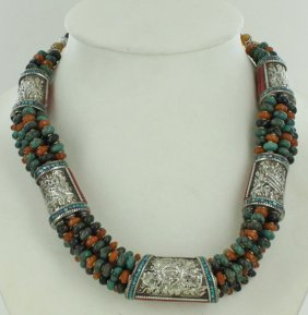 Heavy Tibet Coral Carnelian & Turquoise Necklace