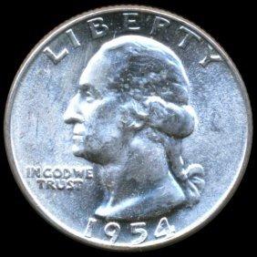 1954 Washington 25c Ms64 Double Die Error