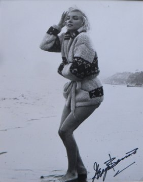 Marilyn Monroe In Sweater On Sand, 1962, With George