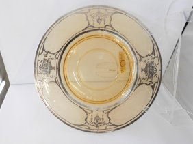 Silver Overlay Depression Glass Plate