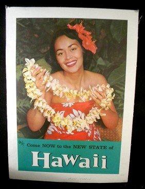 VINTAGE POSTER- HAWAII STATEHOOD CIRCA 1959 BEAUTIFU