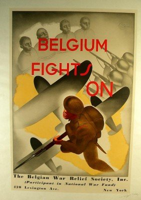 VINTAGE POSTER-WWII BELGIUM FIGHTS ON, CIRCA 1942
