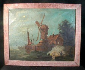 Early Dutch O/c Men On Boats By Dock W/ Windmill Et