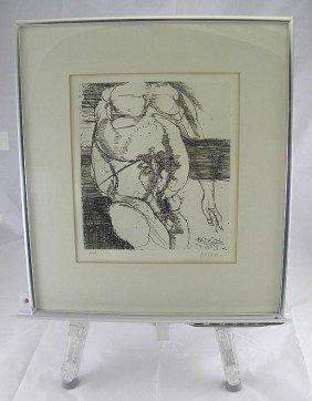 Leonard Baskin Signed Print Nude Male Torso AP 1967