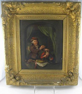19th C Oil On Tin Panel Dentist Pulling Boys Tooth