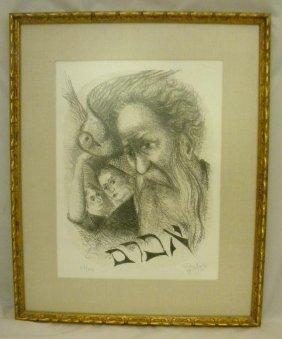 CHAIM GROSS JUDAICA SIGNED LITHOGRAPH, 68/150, SIGNE