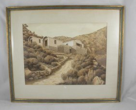 MID CENTURY WATERCOLOR HOUSE SIGNED HACKETT, LOOKS L