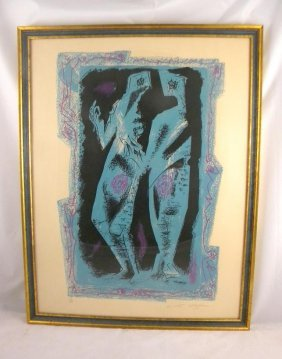 ANDRE MASSON MID CENTURY LITHOGRAPH TITLED DEUX PER