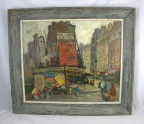 CIRCA 1940'S O/C IMPRESSIONIST PARIS STREET SCENE,