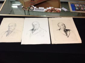 Alfred Hutty Etching And 2 Pencil Drawings- Etching Is