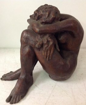 Bronze Nude Woman Seated With Head In Arms, Initialed C