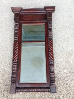 Period Mahogany Carved Mirror, Scrolled Sides, Mirror