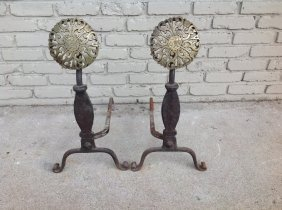 Early Pair Of Cast Iron And Brass Andirons, Measure 25