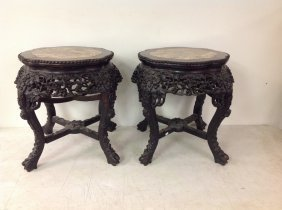 Pair Of Asian Teak Marble Top Stands, Nice Carving,