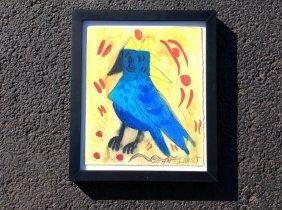 John G Ernst W/c Of Bird, Woodstock Ny Artist, Signed