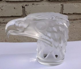 """Lalique France Eagle Head Paperweight 4 1/2"""" High"""