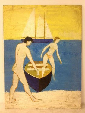 Robert Blanchard O/b Nude Man, Topless Woman In Boat, S