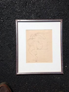 Ink Drawing Of Nude Woman Seated, Initailed G.t. Lower