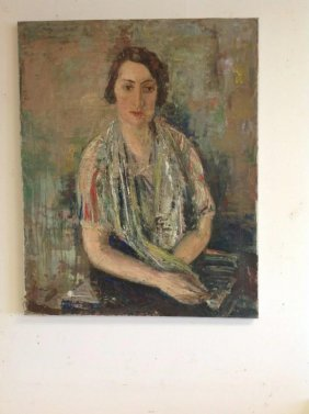 Frederic Serger O/c Portrait Of Woman, Canvas Measures