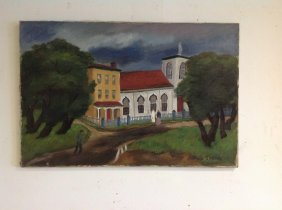 Miron Sokole O/c Titled Church In Verplanck, Circa