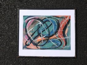 Rolph Scarlett Abstract Gouache On Paper, Signed Lower