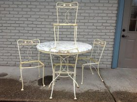 Iron Round Table With Marble Top And 4 Chairs, As