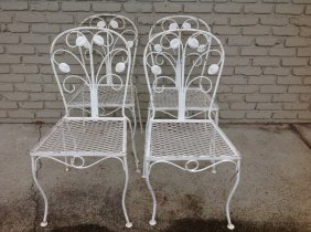 4 White Iron Outdoor Chairs, As Pictured