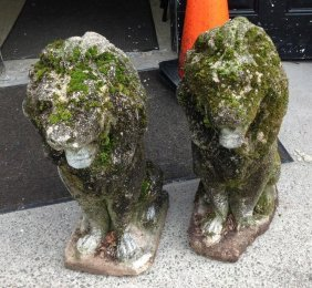 Pair Of Concrete Lion Garden Statues With Great Old
