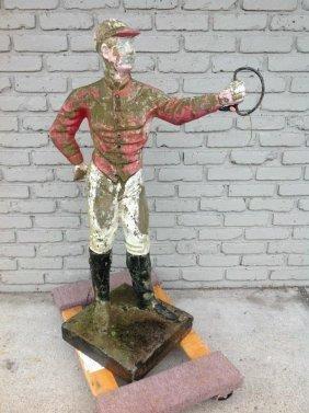 Outdoor Concrete Lawn Jockey In Nice Older Paint, As