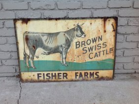 Brown Swiss Cattle, Fisher Farms, Double Sided Metal