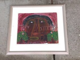 Outsider Art Artist Annie Murray Gouache On Board Black