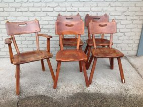 5 Cushman Maple Dining Room Chairs, Including 1