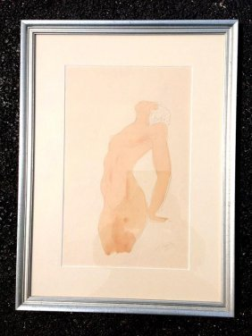 Auguste Rodin Watercolour Female Nude