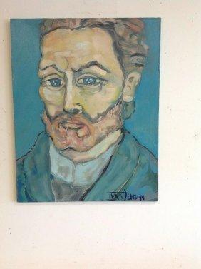 Pop Artist Ivan Jenson O/c Portrait Of Van Gogh