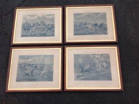 (4) 1839 Engravings The First Steeple Chase On Record