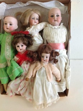 5 Antique Bisque Head Dolls, 2 Without Wigs, Most