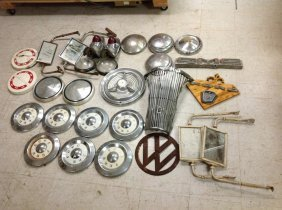 Lot Of Old Car Parts Including Ford Hub Caps, Part Of A