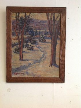 Impressionist O/b Landscape Signed E. M. Armstrong, In