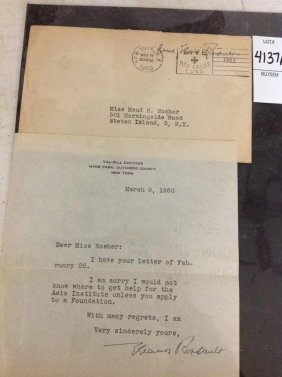 Eleanor Roosevelt Signed Letter, Dated March 9, 1950,