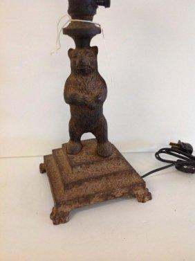 Cast Iron Figural Bear Table Lamp
