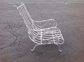 Salterini Iron Outdoor Arm Chair Old White Paint